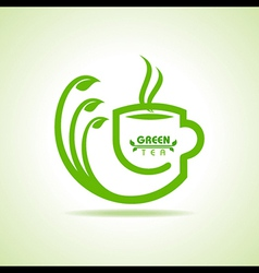 Green tea cup icon vector