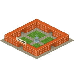 Pixel art school building icon vector