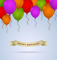 Happy birthday card with ballons and ribbon vector