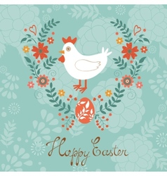 Cute easter card with chicken in floral wreath vector