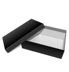 Black blank cardboard package box opened vector
