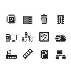 Silhouette computer and website icons vector