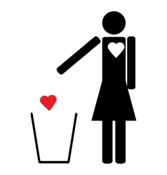 Woman throws the trash to your heart vector