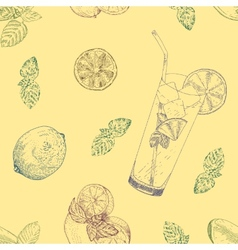 Lime and mint lemonade seamless pattern vector