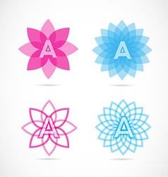 Letter a lotus flower logo vector