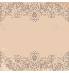 Old worn texture with pattern border vector