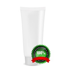 White cream tube with natural sign vector