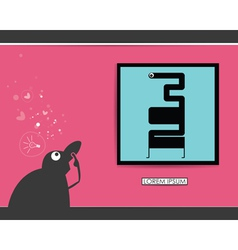 Character in museum with monster in frame vector