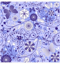 Seamless floral violet blue pattern vector