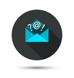The mail icon with long shadow vector