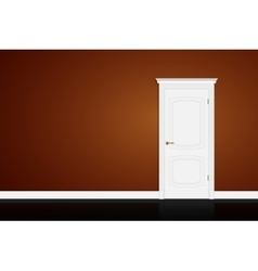 Closed white door on brown wall vector