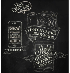 Ipad technologies chalk icons vector