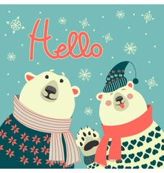 Polar bears say hello vector