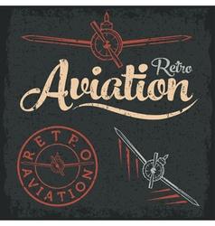 Retro grunge aviation label vector