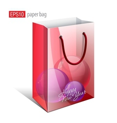 Red paper bag with a picture vector