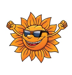 Fun loving tropical sun in sunglasses vector