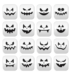 Scary halloween pumpkin faces buttons set vector