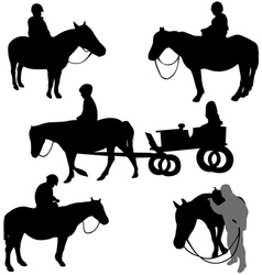 Children riding horses vector