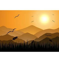 Evening mountains with grass vector