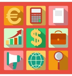 Set of 9 analysis marketing colorful square icons vector