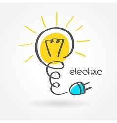Lamp electric lightbulb sketch simple color vector