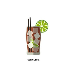 Cuba libre cocktail modern flat design isolated on vector