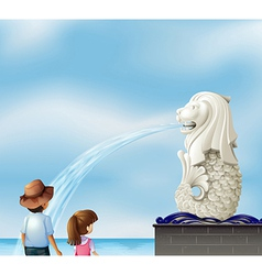 Two kids near the statue of merlion vector