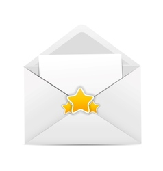 White envelope icon with star vector