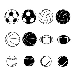 Collection of sports balls vector