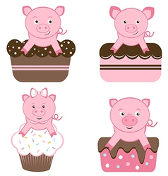 Cute pigs on cakes vector