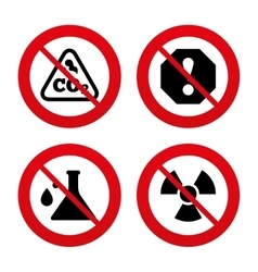Attention radiation icons chemistry flask vector