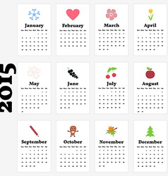 Calendar for 2015 year with cute pictures for vector