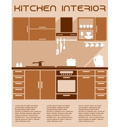 Brown and beige kitchen interior design in flat vector