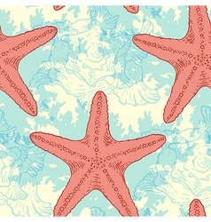 Seamless pattern with sea shells and starfish vector