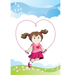 Jumping girl in love vector