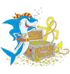 Pirate shark with a treasure chest vector