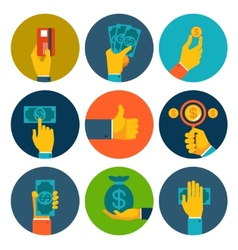 Set of colorful money in hands icons vector