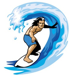 Surfer on the barrel vector