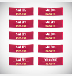 Sale clothing labels set of discounts vector