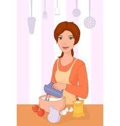 Girl cooking vector