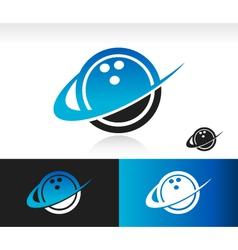 Swoosh bowling ball logo icon vector