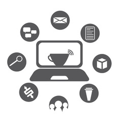 Internet cafe flat design with icon set vector