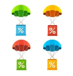 Colorful parachute with paper bag sale icon vector