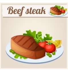 Beef steak detailed icon vector