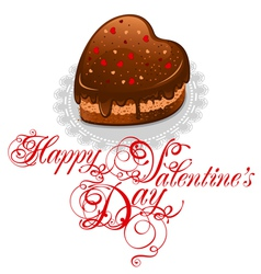 Background to valentines day with chocolate cake i vector