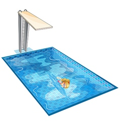 A girl swimming at the pool with a diving board vector