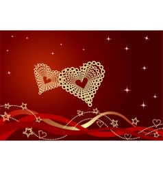 Red valentine background with bows and hearts vector