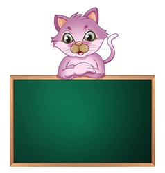 An empty greenboard with a cute cat vector