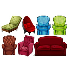 Group of chair furnitures vector
