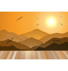Evening mountains with wooden floor vector